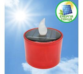 Светодиодная свеча 6 см, на солнечной батарее, красная