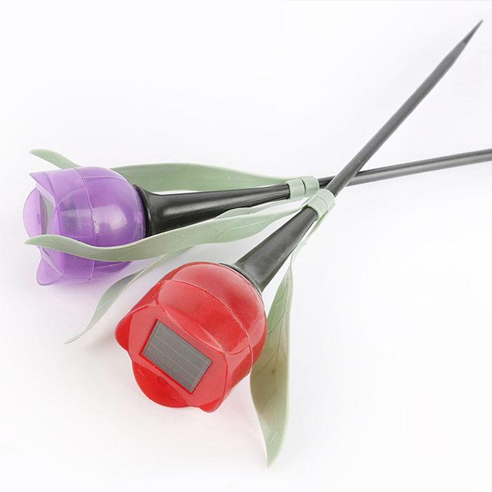 """Газонный светильник """"Мини тюльпан"""" на солнечной батарее, красный"""