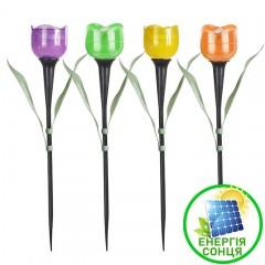 """Четыре газонных светильника """"Мини тюльпаны"""", на солнечной батарее"""