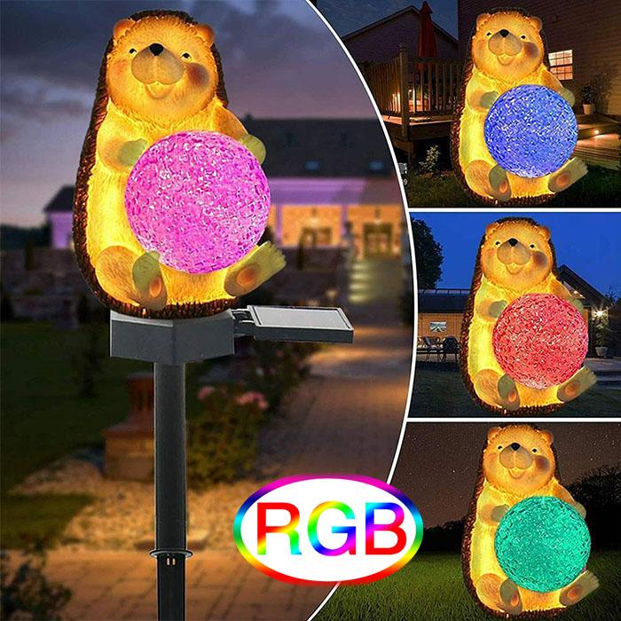 """Газонный светильник """"Ёжик с шариком (RGB)"""", на солнечной батарее"""