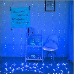 """Штора """"Водоспад"""", 3 х 2 м, 240 світлодіодів, синій"""