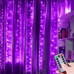 """Штора """"Светодиодные нити"""" 3 х 3м, с пультом ДУ, фиолетовый, USB"""