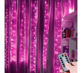 """Штора """"Светодиодные нити"""" 3 х 3м, с пультом ДУ, розовый, USB"""