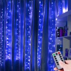 """Штора """"Светодиодные нити"""" 3 х 3 м, с пультом ДУ, синяя, USB"""
