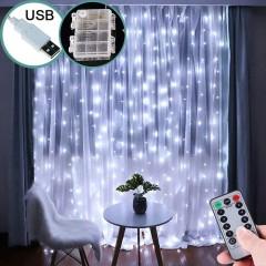 Светодиодная штора 3 х 3 м, USB / батарейки, пульт ДУ, белый
