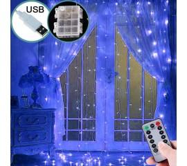 Светодиодная штора 3 х 3 м, USB / батарейки, пульт ДУ, синий
