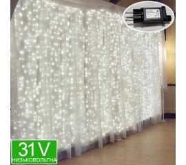 Низковольтная светодиодная штора 6 х 3 м, 31V, 8 режимов, холодный белый