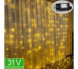 Низковольтная светодиодная штора 6 х 3 м, 31V, 8 режимов, теплый белый