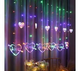 """Светодиодная гирлянда - штора """"LOVE"""", цветная"""