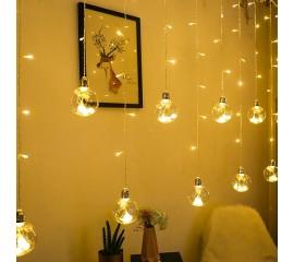 "Гирлянда-штора ""Декоративные шары - лампочки"", 2,5 х 0,8 м, теплый белый"