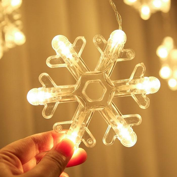 """Гирлянда-штора """"Снежинки - абстрактные"""", теплый белый"""