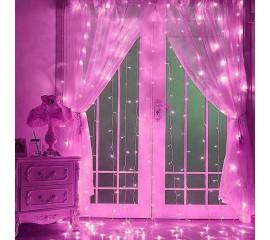 Гирлянда-штора 3х3 м,  розовый