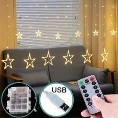 """Светодиодная штора """"Звезды"""" с пультом ДУ, на батарейках / USB теплый белый"""