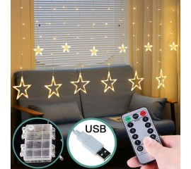 "LED штора ""Звезды"" с пультом ДУ, на батарейках / USB теплый белый"
