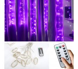 """Штора """"Светодиодные нити"""", 3 х 1 м, с пультом ДУ, USB, фиолетовый"""