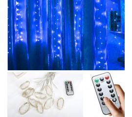 """Штора """"Светодиодные нити"""", 3 х 1 м, с пультом ДУ, USB, синяя"""