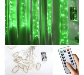 """Штора """"Светодиодные нити"""", 3 х 1 м, с пультом ДУ, USB, зеленый"""