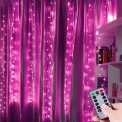 """Штора """"Светодиодные нити"""" 3 х 2 м, с пультом ДУ, USB, розовая"""
