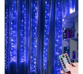 """Штора """"Светодиодные нити"""" 3 х 2 м, с пультом ДУ, USB, синий"""