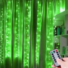 """Штора """"Светодиодные нити"""" 3 х 2 м, с пультом ДУ, USB, зеленая"""