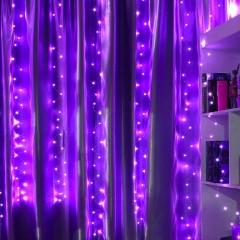 """Низковольтная штора """"Светодиодные нити"""", 3х3м, с блоком питания, фиолетовый"""