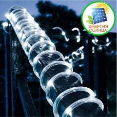 Солнечная LED нить в ПВХ трубке 200 л. 22 м. 8 режимов, холодный белый