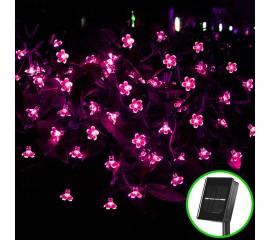 """Солнечная гирлянда """"Яблоневый цвет"""" 50 ламп 7 м, розовый"""