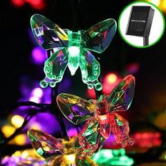 """Солнечная гирлянда """"Бабочки акриловые"""", 50 ламп 5 м, цветная"""