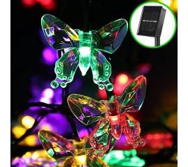 """Солнечная гирлянда """"Бабочки акриловые"""", 30 ламп 4,5 м, цветная"""