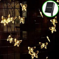 """Солнечная гирлянда """"Бабочки акриловые"""", 50 ламп 5 м, теплый белый"""