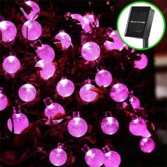 """Солнечная гирлянда """"Хрустальные шарики розовые"""", 50 ламп 7 м"""