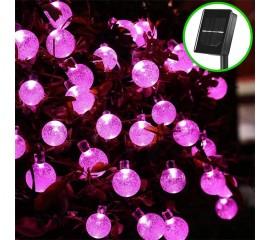 "Сонячна гірлянда ""Кришталеві кульки рожеві"", 50 ламп 7 м"