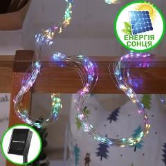 Свисающие led нити на солнечных батареях 200 led, 10 линий по 2м, 8 режимов свечения, цветная
