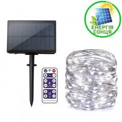 """Светодиодная нить """"Роса"""", на солнечной батарее, с пультом ДУ, 30 м., 300 ламп, холодный белый"""