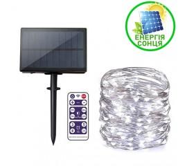 """Светодиодная нить """"Роса"""", на солнечной батарее, с пультом ДУ, 20 м., 200 ламп, холодный белый"""