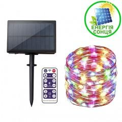 """Светодиодная нить """"Роса"""", на солнечной батарее, с пультом ДУ, 30 м., 300 ламп, цветная"""