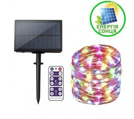 """Светодиодная нить """"Роса"""", на солнечной батарее, с пультом ДУ, 20 м., 200 ламп, цветная"""