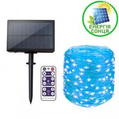 """Светодиодная нить """"Роса"""", на солнечной батарее, с пультом ДУ, 30 м., 300 ламп, голубая"""