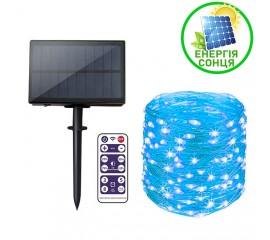 """Светодиодная нить """"Роса"""", на солнечной батарее, с пультом ДУ, 20 м., 200 ламп, голубая"""