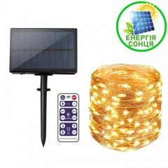 """Светодиодная нить """"Роса"""", на солнечной батарее, с пультом ДУ, 10 м., 100 ламп, теплый белый"""
