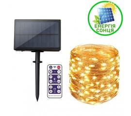 """Светодиодная нить """"Роса"""", на солнечной батарее, с пультом ДУ, 20 м., 200 ламп, теплый белый"""