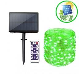 """Светодиодная нить """"Роса"""", на солнечной батарее, с пультом ДУ, 20 м., 200 ламп, зеленый"""