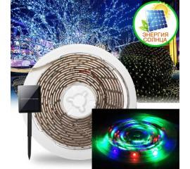 Светодиодная лента на солнечной батарее, 3 м, 90led, 7 режимов, цветная