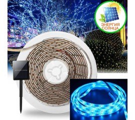 Светодиодная лента на солнечной батарее, 3 м, 90led, 7 режимов, голубой