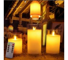 Набор светодиодных восковых свечей в стекле - 3 штуки, с пультом ДУ