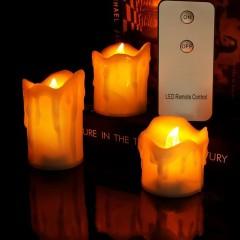Комплект из 3-х светодиодных свечей - 6 см / 6,  7,5,  10 см, с пультом ДУ