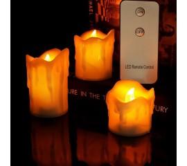 Комплект з 3-х світлодіодних свічок - 6 см / 6,  7,5,  10 см, з пультом ДК