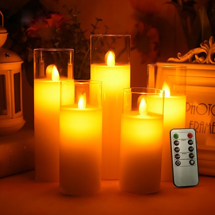 Набор светодиодных восковых свечей в стакане, 5 штук , с пультом ДУ