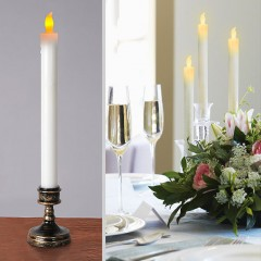 Светодиодная свеча с бронзовой базой, 29 см, мерцающий свет