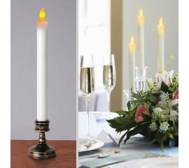 Світлодіодна свічка з бронзовою базою, 29 см, мерехтливе світло